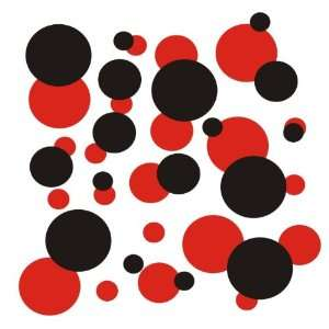 set of 106 Red and Black polka dots Vinyl wall lettering stickers