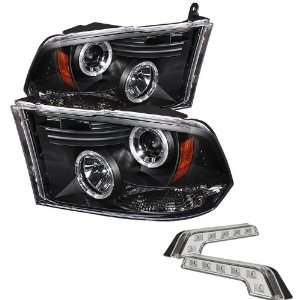 Carpart4u Dodge Ram 1500 Halo LED Black Projector Headlights and LED