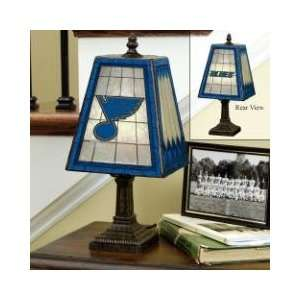 ST. LOUIS BLUES Team Logo Hand Painted ART GLASS TABLE LAMP (14 Tall