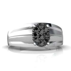 14K White Gold Black Diamond Mens Mens Ring Size 11 Jewelry