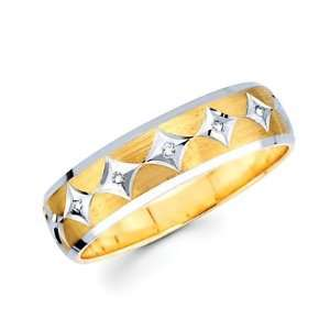 05ct Diamond 14k Yellow n White Gold Mens Wedding Ring Band