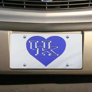 NCAA Kentucky Wildcats Silver Mirrored Heart License Plate Automotive