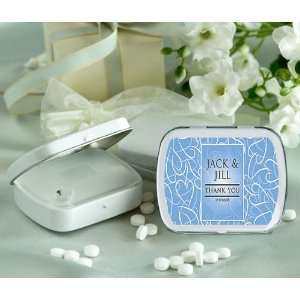 Heart Pattern Personalized Glossy White Hinged Mint Box (Set of 24