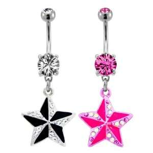 Steel Pink Prong Set Belly Ring With Dangling Nautical Star with Gems