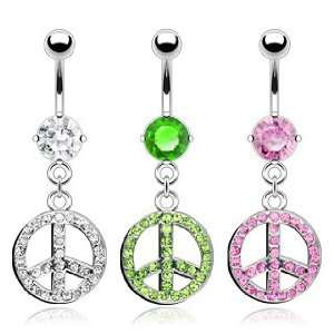 316L Surgical Steel Single Prong Set Gem Belly Ring with Clear Cubic