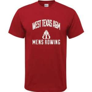 West Texas A&M Buffaloes Cardinal Red Youth Mens Rowing Arch T Shirt