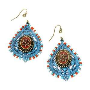 Aged Turquoise Patina Metal; Red Accent; Antique Gold Metal Jewelry