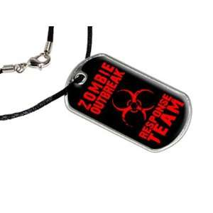 Zombie Outbreak Response Team Red   Military Dog Tag Black