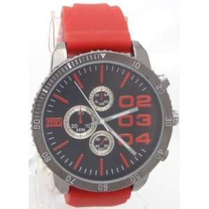 style Look XL Black Dial Mens watch DZ4216 Look With Red Rubber Band