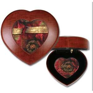 Love Never Fails Woodgrain Mini Heart Music Box / Jewelry Box Plays