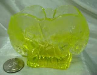 Double Elephant Toothpick Holder Yellow Vaseline Glass