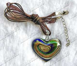 wholesale lot 12x murano glass heart pendants necklaces