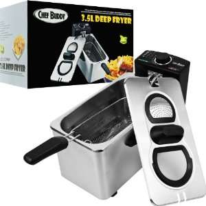 Chef BuddyT Electric Deep Fryer Stainless Steel   3.5 Liter   Home and