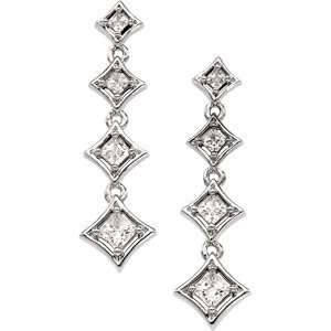 14K White Gold Journey Diamond Earring