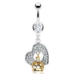 GOLD CROWN GEM PAVE HEART BELLY NAVEL RING CZ DANGLE BUTTON PIERCING