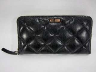 NEW KATE SPADE BLACK LIBERTY STREET Lacey QUILTED LEATHER ZIP AROUND