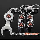 UNIVERSAL MITSUBISHI TIRE WHEEL RIMS STEM VALVE CAPS WRENCH KEYCHAIN