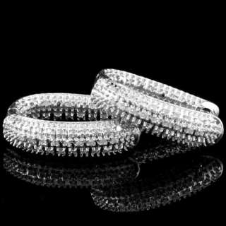 LADIES WHITE GOLD FINISH PAVE DIAMOND HOOP EARRINGS